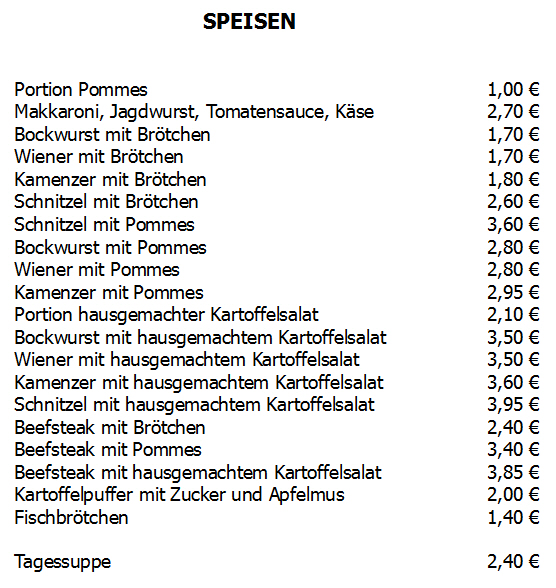 Feuerbach Cafe Speisekarte