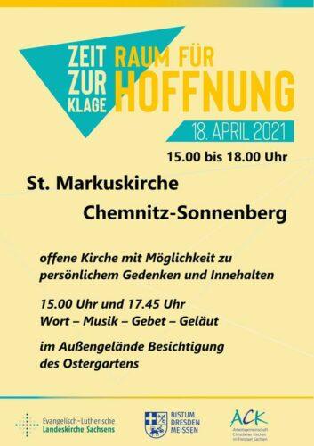 """Corona-Gedenktag """"Zeit zur Klage - Raum für Hoffnung"""" @ Markuskirche"""